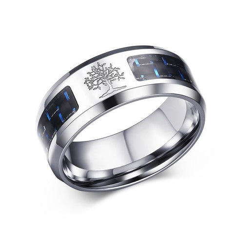 Carbon Fiber Ring Tree Of Life Stainless Steel Male Jewelry