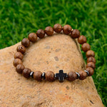 Natural Wood Yoga Jewelry Beads Cross Bracelets