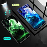 Luminous Tempered Glass Pattern Case For iPhone 7 8 X XS MAX