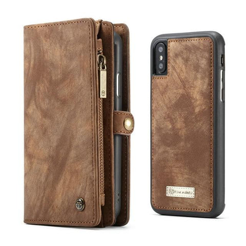 Leather Case For iPhone Xs Xr Xs Max Detachable 2 in 1 Zipper Credit Card
