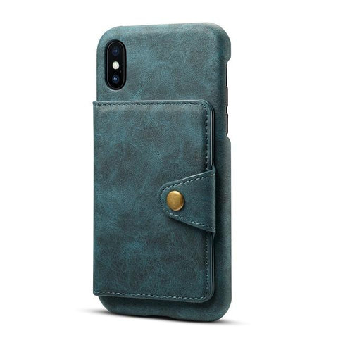 Multifunction Card Slot Leather Stand Back Cover Case for iPhone X XS Max