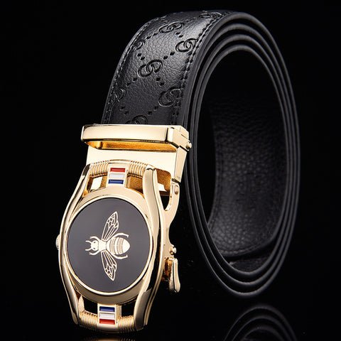 Business Leather Belt with Metal Automatic Buckle