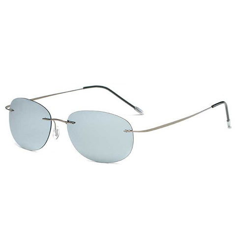 Polarized Mirrored UV400 Lens Titanium Frame Rimless Lightweight Sunglasses For Men Women