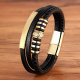 2020 Promotion Multi-layer Leather Stainless Steel Luxury Men's Bracelet