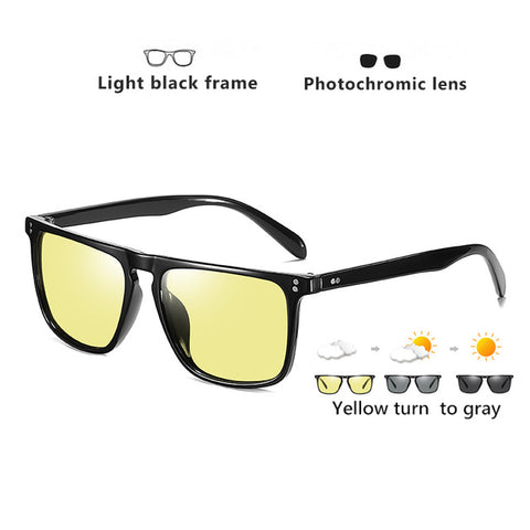 Square Photochromic Polarized Outdoor Driving Men's Sunglasses
