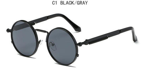 Vintage Retro Punk Style Sunglasses with Round Metal Frame Colorful Lens for Men Women