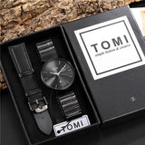 New Fashion Luxury Men Watch Black Full Steel Date