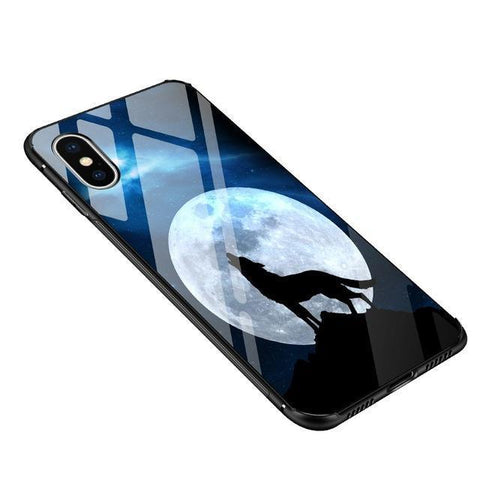 Cute cartoon tempered glass back Cover Case for iphone X