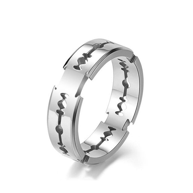 Stainless Steel Hollow Out Wedding Ring Razor Blade Shape