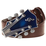 Men's Belt with Retro Guitar Style Buckle