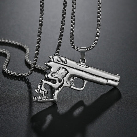 Gun Skull Pattern Retro Fashion Titanium Steel Pendant Men Pendant Necklace