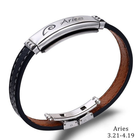 12 Constellations 2020 Fashion Jewelry Leather Stainless Steel Men Casual Zodiac Signs Punk Bracelet