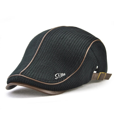 High Quality Brand Knitted Leather Flat Cap
