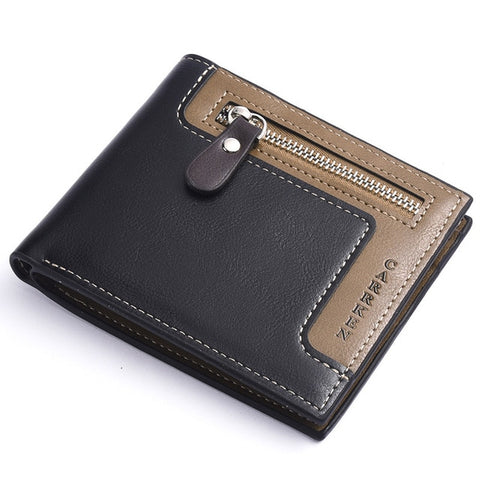 Vintage Leather Wallet Zipper with ID Card Holder