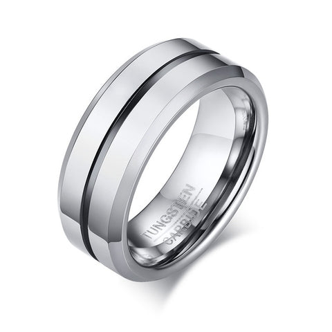 Qualified 8mm Tungsten Grooved Wedding Band for Men Anti Scratch Anniversary Ring