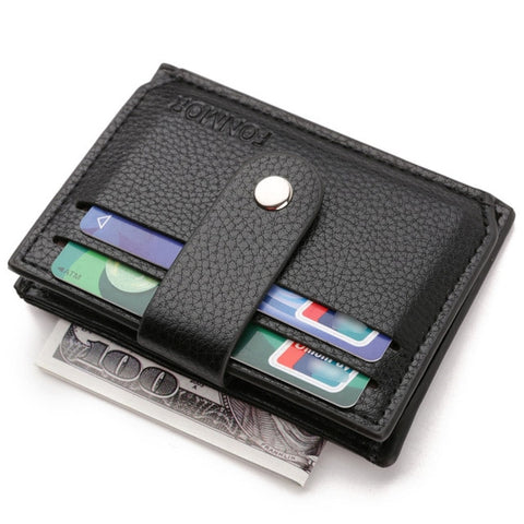 Business Minimalistic Wallet with Coin Pocket Hasp Bifold ID Bank Credit Card Holder Zipper Coin