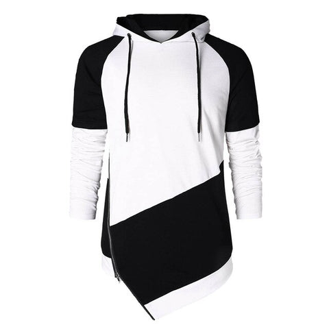 Oblique  Hip Hop Zippers  Long Fleece Hoodie