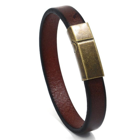 Fashion Vintage Brown Leather Bracelet Stainless Steel Magnetic
