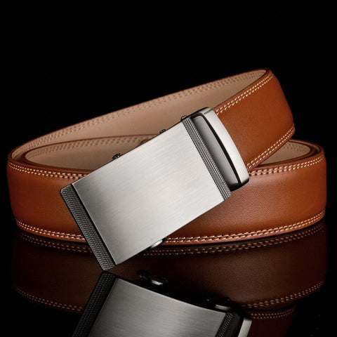 Top Quality Luxury Leather Ratchet Belt with Automatic Buckle