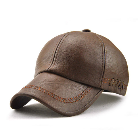 High quality spring winter Faux leather baseball cap