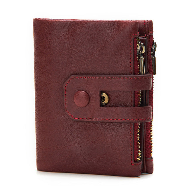 Rfid Genuine Cow Leather Zipper Wallet