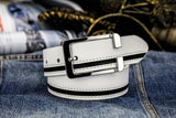 Men's 2nd Layer Genuine Leather Belt Metal Pink Buckle