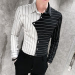 New Arrival Korean Striped Long Sleeve Casual Shirt Patchwork Color