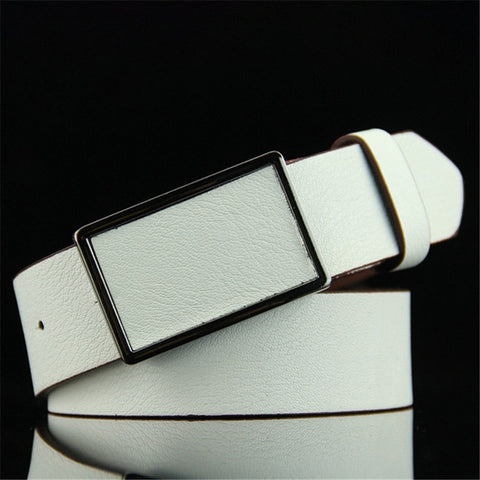 Vintage Men's PU Leather Belt Casual Tighten All Match Metal Square Buckle