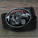 Men's Belt The Motorcycle and The Wolf Buckle