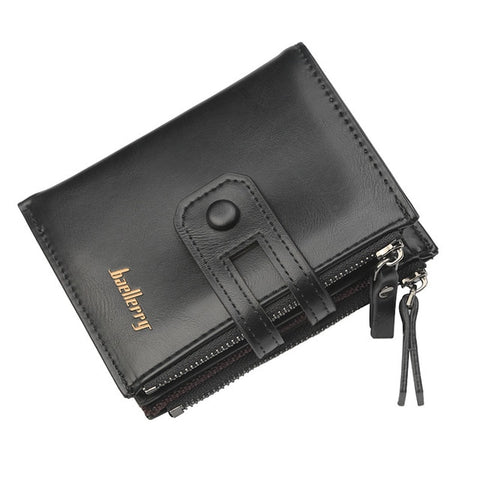 Vintage High Quality Leather Double Zipper Wallet Multi-Card Design