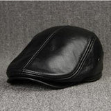 Men's Winter Hat Thicker Warm Cowhide Leather Berets With Ears Snapback