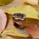 Wooden Rose Blooming Secret Forest Miniature Worlds Inside Ring For Women