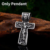 316L Stainless Steel Christ Jesus Cross Pendant Necklace