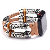 Vintage PU Leather Embossed Ornament Wristband For Smartwatch Replacement Bracelet Strap