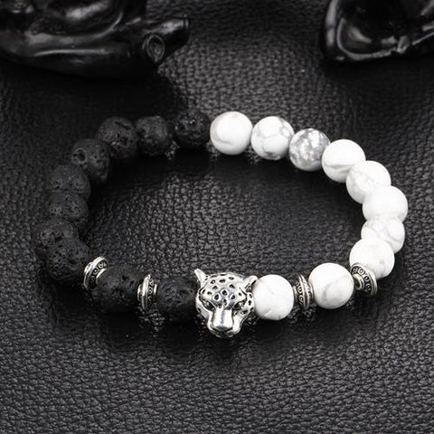 Leopard head Bracelet Lava Natural Stone Beaded Bracelets For Men Women