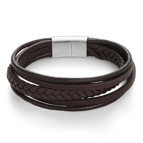 Fashion Genuine Leather Bracelet Men Stainless Steel Bracelets
