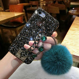 Glitter Luxury Bling Diamond Gem Bracelet Chain Tassel Fox Fur Ball Cover For iPhone 5S 6 6S 7 8 Plus X Case