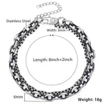 Men's Double Chain Stainless Steel Gunmetal Bracelet