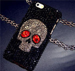 Cool 3D Skull Skeleton Blue Red Eyes Bling Capa Cases for iPhone X 8 7 Plus 6 Plus 5s 5 SE 5C 4s 4