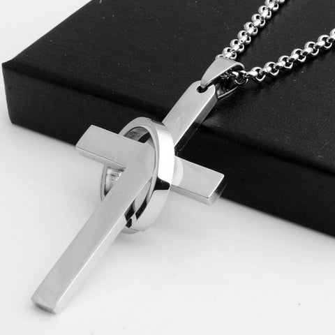 Simple Stainless Steel Cross With Circle Pendant Necklaces