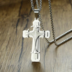 Men's Vintage Stainless Steel Cross Pendant Necklace