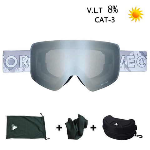 Ski Snowboard Goggles UV 400 Snow Protection Over Glasses Adult Double Anti Fog