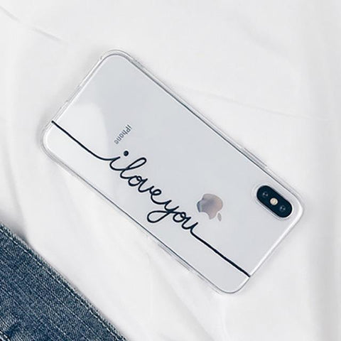 Letter Print Lovers Phone Case For iphone X 6S 6 7 8 Plus