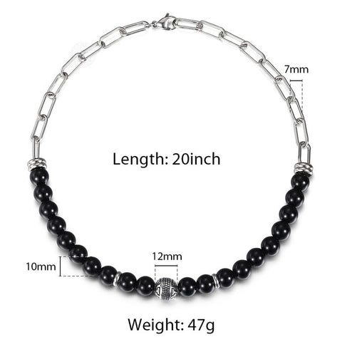 2020 New Unique Stainless Steel Cuban Chain Mixed Beaded Charm Necklace