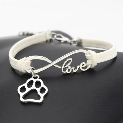 Animal Bear Paw Charms Pendant Leather Infinity Love Bracelet