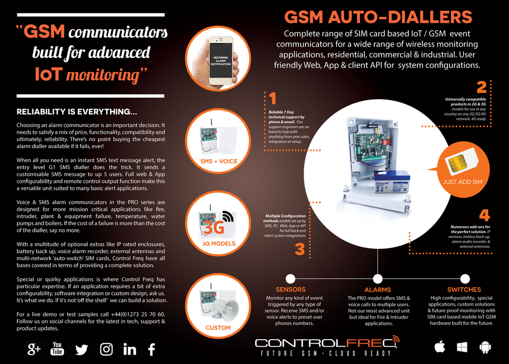 About GSM alarm auto-diallers for SIM card mobile cloud IoT monitoring and sensing