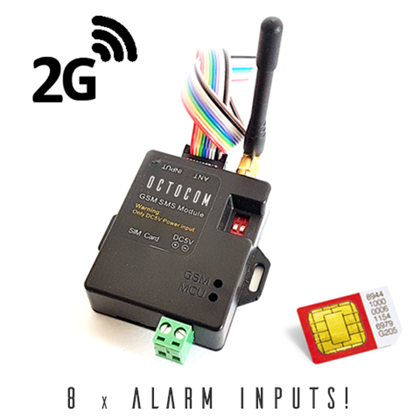 GSM alarm auto-dialler with 8 individual alarm inputs for calls and or SMS