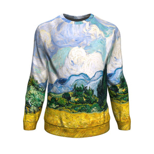 Wheat Field with Cypresses by van Gogh - Sweatshirt