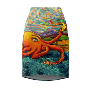 Octopi Port Angeles by Tocher - Pencil Skirt