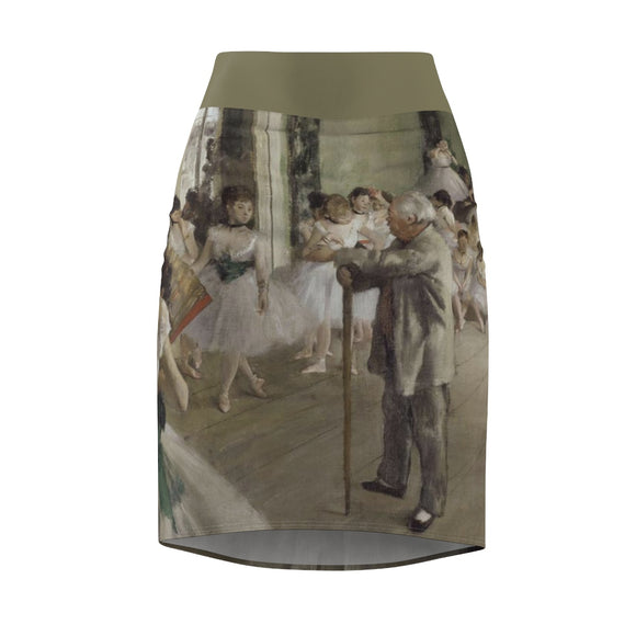 The Ballet Class by Degas - Women's Pencil Skirt